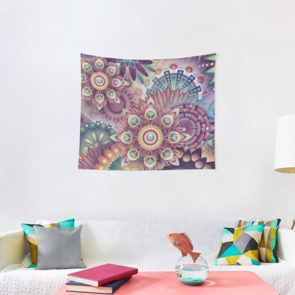 Psychedelic Kaleidoscope Abstract Wilderness Print Tapestry