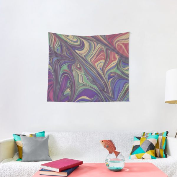 Psychedelic Liquid Pour Colorful Print Tapestry
