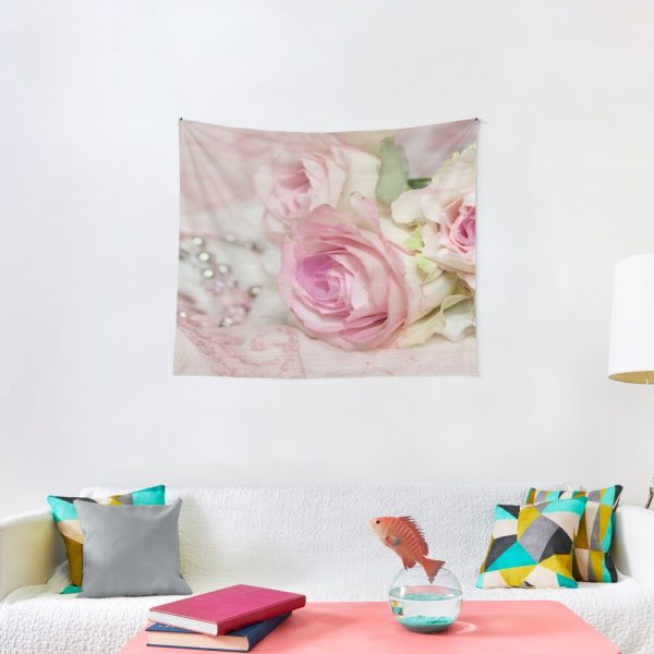 Vintage Roses and Pearls Print Tapestry