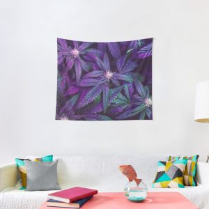 Psychedelic Purple Cannabis Marijuana Weed Pot Leaves Tapestry